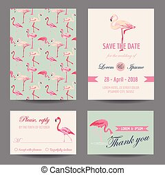 Invitation/Congratulation Card Set - Flamingo Theme - in...