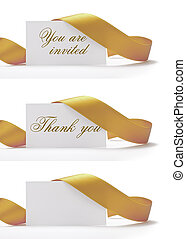 invitations and greeting cards over a white background, vhere i'ts written you are invited, and thank you. There is a golden ribbon around it