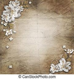 invitations, fleurs, félicitations, fond, cadre, vendange