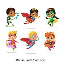 invitations, multiracial, gosse, blanc, coloré, caractères, vecteur, costumes, fête, isolé, divers, superheroes, mascotte, filles, toile, dessin animé, arrière-plan., garçons, porter