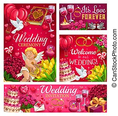Invitations on Save the date party, wedding day,
