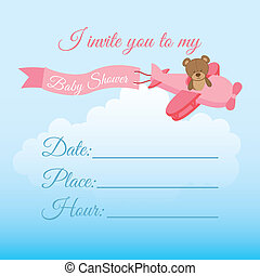 invite birthday design over sky background vector...
