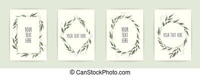 invite., botanique, ensemble, affiche, leaves., fleurs, sauvage, floral, carte