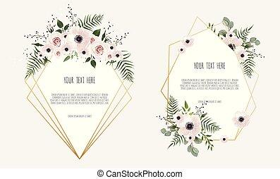 invite., botanique, ensemble, affiche, printemps, concept., ornement, leaves., fleurs, sauvage, floral, carte