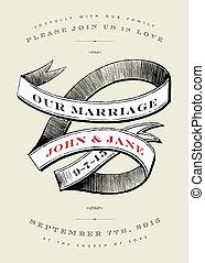 inviter, bannière, mariage, vecteur, vendange