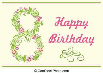 inviter, nombre, salutation, année, anniversaire, huit, 8, floral, fête, ou, carte, heureux