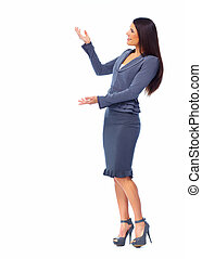 Inviting business woman. - Young business woman. Isolated on...