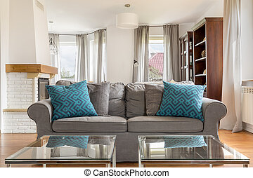 Inviting living room - Shot of a grey sofa in a stylish...