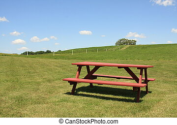 Inviting picnic table