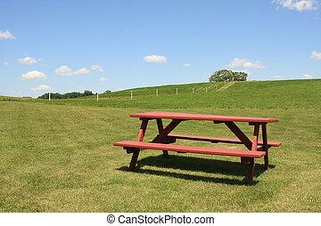 Inviting picnic table