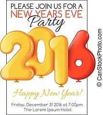 invito, a, partito nuovo anno, con, palloni