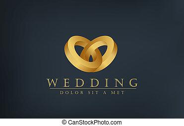 invito, anelli, creativo, disegno, matrimonio, logotipo, template., scheda