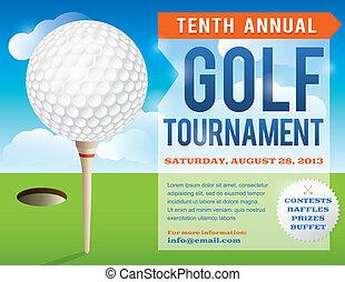 invito, golf, disegno, torneo