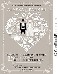 invito, indossare, matrimonio, cuore, composition.