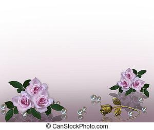 invito matrimonio, bordo, lavanda, rose