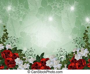 invito matrimonio, bordo, rose rosse