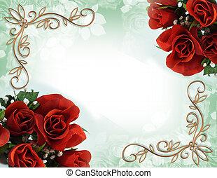 invito, matrimonio, bordo, rose, rosso