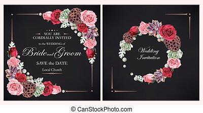 invito matrimonio, con, peonia, rose, e, succulents