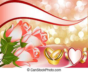 invito matrimonio, con, rosa, e, anello