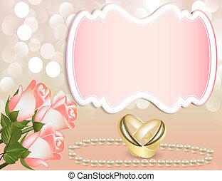 invito matrimonio, con, rosa, vicino, perla, vicino, nastro, e, anello