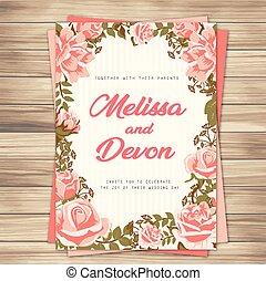 invito matrimonio, rose dentellare, sfondo rosa, vettore, immagine
