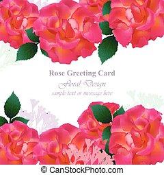 invito matrimonio, scheda, vector., rose, e, lavanda, flowers., rosso, rosa, colori