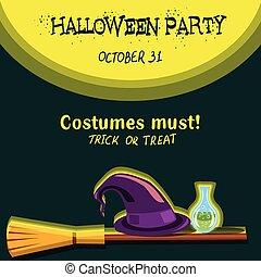 invito, scheda, per, festa halloween