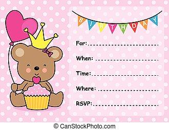invito, scheda, ragazza compleanno