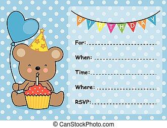 invito, scheda, ragazzo compleanno