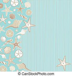 invito, seashell, festa, spiaggia
