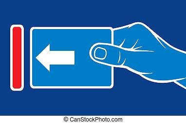 invoegen, gleuf, kaart hand