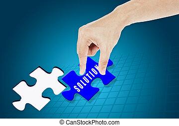 invoegen, missende , raadsel, jigsaw, oplossing, hand
