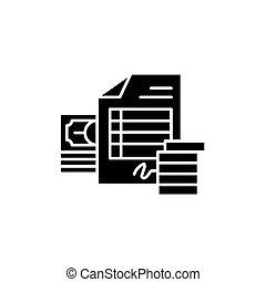 Invoice black icon concept. Invoice flat vector symbol, sign, illustration.