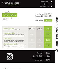 Business invoice template - modern sleek style in green and dark grey. Fully editable EPS10