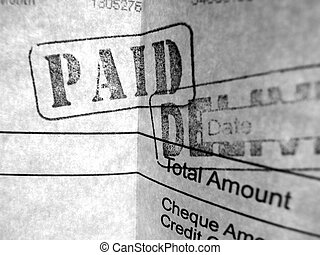 Close up of financial invoice & documentary