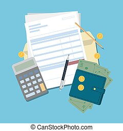 Invoice desk top. - Invoice desk top view with documents,...