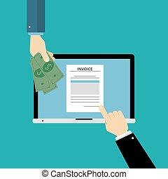 Invoice desk top. - Invoice desktop with laptop, documents...