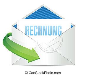 invoice envelope written in german. illustration design over white