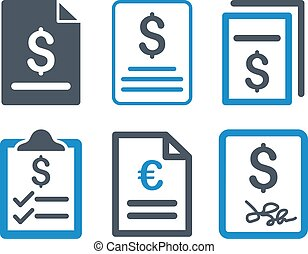 Invoice Flat Vector Icons