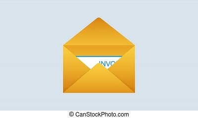 Invoice icon , email message received with bill document, flat style open envelope with invoice paper blank