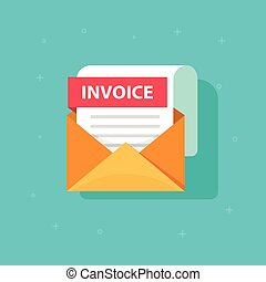 Invoice icon vector, email message received with bill document