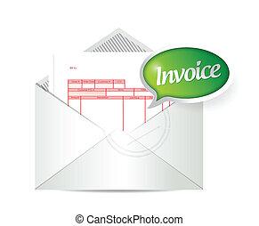 invoice inside an envelope. illustration