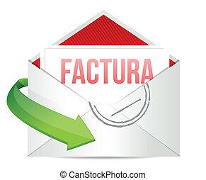 invoice inside an envelope in Spanish