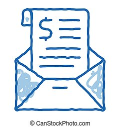 Invoice Message In Envelope And Dollar doodle icon hand drawn illustration