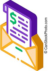 Invoice Message In Envelope And Dollar isometric icon