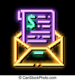 Invoice Message In Envelope And Dollar neon glow icon illustration