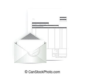 invoice receipt mail illustration design over a white background