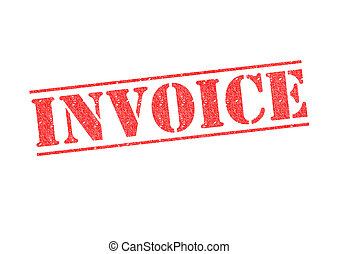 INVOICE rubber stamp over a white background.