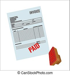 Invoice vector bill with red paid stamp close-up realistic illustration.