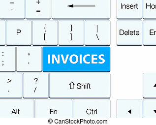 Invoices cyan blue keyboard button - Invoices isolated on...